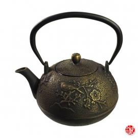 Théière en fonte chinoise OiSEAU et PRUNiER 0.8L noir et doré
