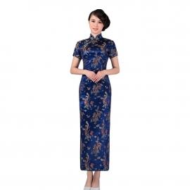 Robe chinoise (qipao 旗袍) longue BLEU ROi motif DRAGON et PhOENiX (100% polyester)
