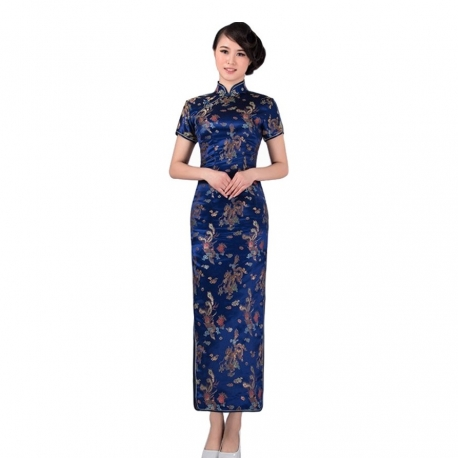 robe chinoise qipao longue bleu roi motif dragon et phoenix 100 polyester kim thanh. Black Bedroom Furniture Sets. Home Design Ideas