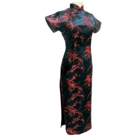 Robe chinoise (qipao 旗袍) longue NOiRE motif PRUNiER ROUGE (100% polyester)