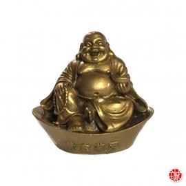 Bouddha Hotei sur lingot en résine doré (h7.5cm)