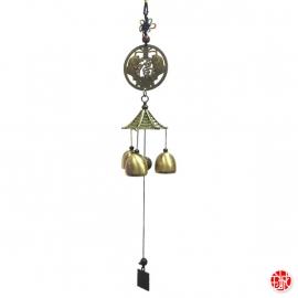 Carillon Pagode 3 cloches BONhEUR et DOUbLE POiSSONS h45cm