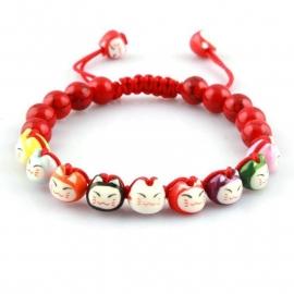 Bracelet Shambala 9 Maneki Neko (8mm) en porcelaine (bracelet ajustable)