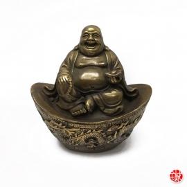 Bouddha de la prospérité Hotei 布袋 assis sur lingot Dragon et Phoenix en cuivre (h10cm)
