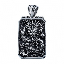 Pendentif DRAGON (龍騰天下 l'Empire du Dragon) en acier inoxydable (h5cm)