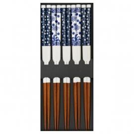 Set de 5 baguettes japonaises assorties HANA blanc bleu
