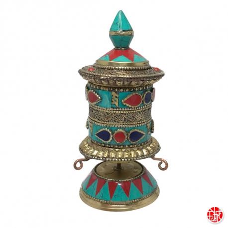 Moulin à prière de table en laiton argenté et turquoises (h15cm)