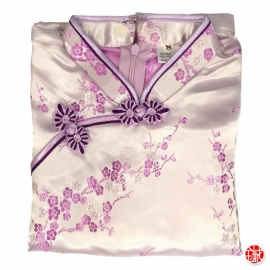 Robe chinoise (qipao 旗袍) enfant ViOLET CLAiR motif CERiSiER