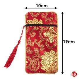 Pochette doublée en tissus 10x19cm rouge