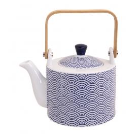 Théière en porcelaine japonaise NiPPON BLUE vagues 0L80