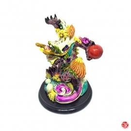 Dragon impérial en résine peint à la main (h10cm)