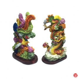 Dragon et Phoenix en résine peint à la main (h13.5cm)