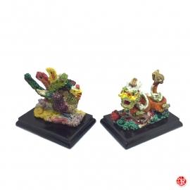 Dragon et Phoenix en résine peint à la main (h6cm)