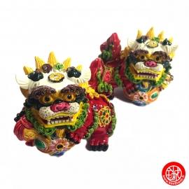 Chiens de Foo (石獅 : Protection) en résine peint à la main