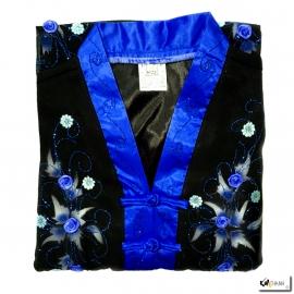Ao-dai enfant noir BRODé FLEURS bleu