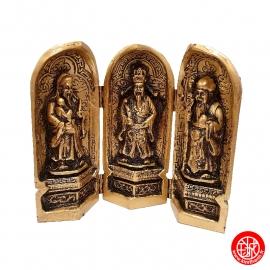 Triptique 3 Dieux du Bonheur (Prospérité 福, Richesse 禄, Longévité 壽) en résine doré (h15cm)