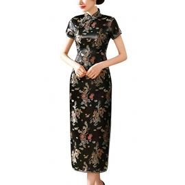 Robe chinoise (qipao 旗袍) longue NOiRE motif DRAGON et PhOENiX (100% polyester)