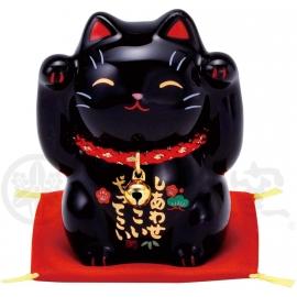Maneki Neko BONhEUR noir en porcelaine japonaise (h6cm)
