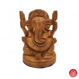Ganesh assis en bois (h7cm)