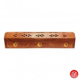 Porte-encens double batonnets et cônes avec réservoir YiN-YANG en bois de sheesham ajouré
