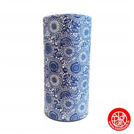 Boîte à thé japonaise (茶筒 chazutsu) papier washi AiZOME kiku (200g)