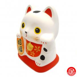 """Tirelire Maneki Neko blanc en argile """"onéko-san"""" h10cm"""