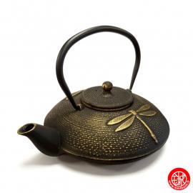 Théière en fonte chinoise LibELLULES 1.20L noir et or