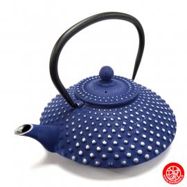 Théière en fonte chinoise KAMbiN 1.20L bleu et argent