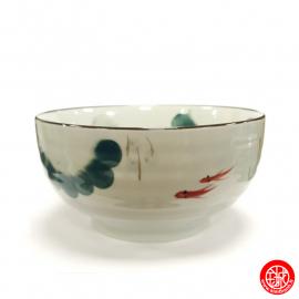 Bol à soupe POiSSONS et NéNUPhARS peint en porcelaine japonaise (d17cm)
