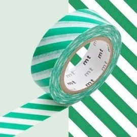 masking tape déco stripe green (stries vertes) 15mm*10m