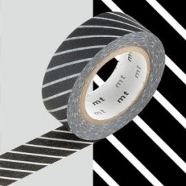 masking tape déco stripe black (stries noires L) 15mm*10m