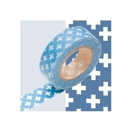 masking tape déco cross light blue (croix bleu clair) 15mm*10m