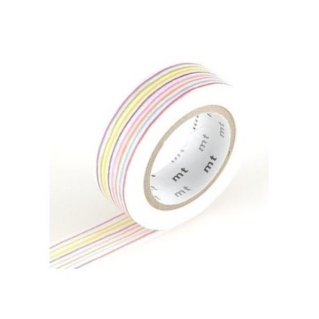 masking tape EX iro enpitsu border (lignes colorées) 15mm*10m