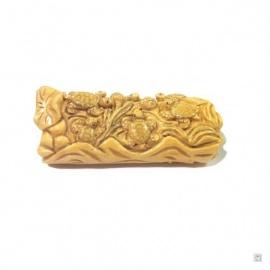 Tortues sur un tronc d'arbre en os de buffle sculpté main