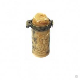 Boîte à pilules cylindrique CHOUETTES en os de buffle