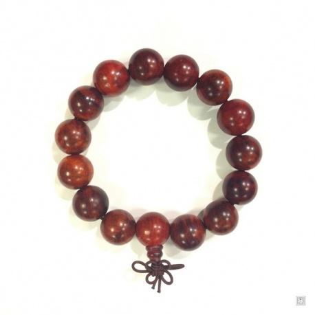 Bracelet mālā en bois foncé 14 perles de 16mm