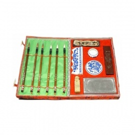 Coffret de calligraphie chinoise brocart rouge GM