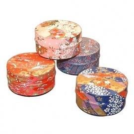 Boîte à thé japonaise (茶筒 chazutsu) papier washi ChiYOGAMi plat (40g)