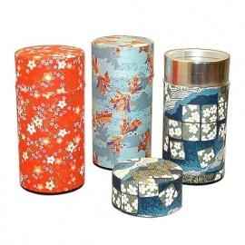 Boîte à thé japonaise (茶筒 chazutsu) papier washi ChiYOGAMi (200g)