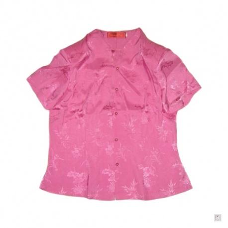 Chemisier ROSE fleurs manches courtes 100% soie