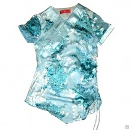 Tunique KiMONO bleu clair manches courtes en soie