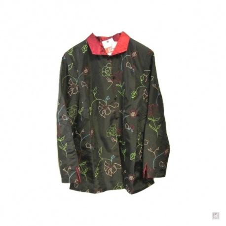 Veste noire FLEURS brodées intérieur rouge soie/polyester