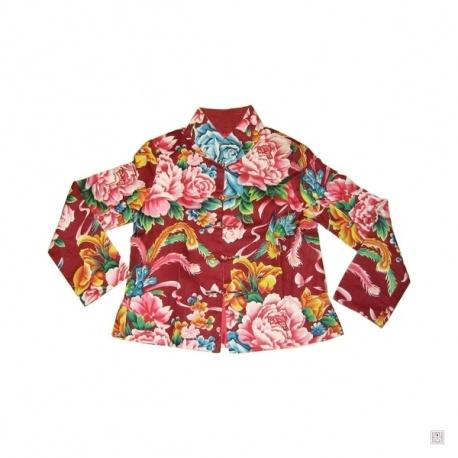 Veste SHANGHAi pivoines & phoenix rouge 100% coton