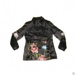 Veste FLEURS & PAPiLLON noire en soie