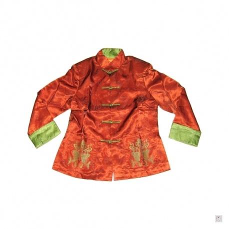 Veste DOUBLE POiSSONS brodé orange en soie