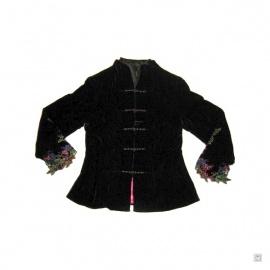 Veste velourée noire manches ajourées FLEURS & PAPiLLONS en soie