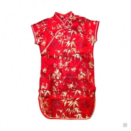 Robe chinoise (qipao 旗袍) enfant ROUGE motif 3 AMiS NOiR et OR