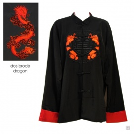 Veste chinoise doublée DRAGON BRODE rouge polyester