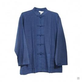 Veste Kung-fu / Tai-chi 100% soie sauvage (bleu)