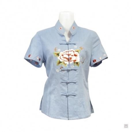 Chemisier PiVOiNE brodée bleu manches courtes en rayonne